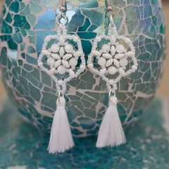 White Mother of Pearl Shell Woven Tassel Earrings