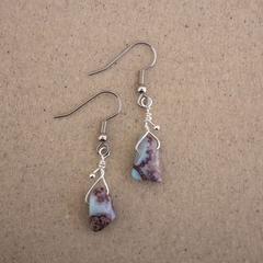 Natural Larimar Gemstone Sterling Silver Earrings