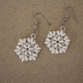 Woven Pearly White Swarovski Crystal Earrings