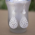 White Teardrop Carved Mother of Pearl Sterling Silver Earrings