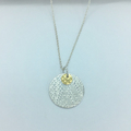 Textured Disc Pendant, Sterling silver, Keum-boo Gold, Necklace,  | Handcrafted