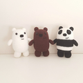 Ice bear crochet plush, We Bare Bears, polar bear amigurumi, crochet white bear