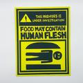 Bob's Burgers Warning Human Flesh Painting, humorous funny christmas gift