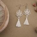White Mother of Pearl Shell Woven Tassel Earrings