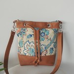 Leather and Fabric Bucket Bag