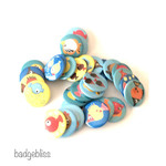 Colourful Fish button badge party favours