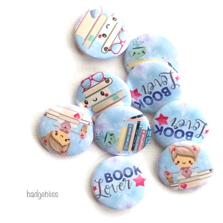 Book Lover button badge party favours