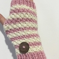Pink with cream handwarmers texting gloves alpaca pink cream fingerless gloves