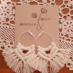 Bohemian Bridal Macrame Earrings