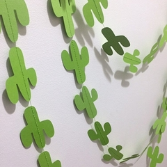 Green Cactus Garland. Fiesta, first birthday party decor. Wild one, baby shower.