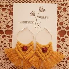 Yellow Mustard Macrame Earrings