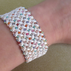 White and Multi Colour Cuff Bracelet