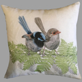 Cushion Cover with Superb Fairy Wren Australian wildlife print on Linen 40cm