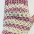 Pink with cream handwarmers texting gloves alpaca pink cream fingerless gloves