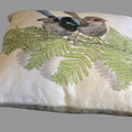 Cushion Cover with Superb Fairy Wren Australian wildlife print on Linen 40cm