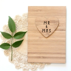 Mr and Mrs Wedding Card Gift Bamboo Anniversary Love