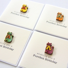 4 Cat Birthday cards, mini card wooden, with envelope