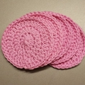 Set of 5 PINK reusable baby face washers, makeup remover pads, face scrubbies