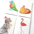 4 Blank Cards, Dog, Cat, Bird & Flamingo, Birthday Cards, Thank You Cards, Hello