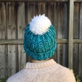 Teal Speckled Chunky Beanie with Pom Pom