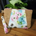 Floral and Cork Wristlet Pouch