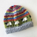Rust 'Sheep' Beanie - to fit approx size 3-8 years - hand knitted
