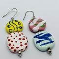 The Oddball Collection - Funism. Kazuri Bead Earrings.
