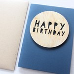 Happy Birthday card wooden