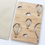 Bamboo Hot Air Balloons card wood look Happy Fathers Day Birthday Dad for him