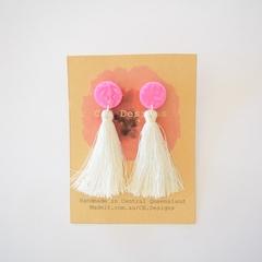 Polymer clay tassel earrings - pink/teal/purple