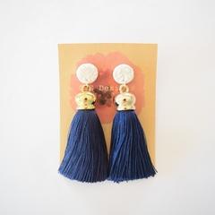 Lux tassel polymer clay earrings - navy & white