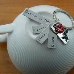 Custom, Mothers Day Gift,This mum is loved,Keyring,Hand Stamped,Kids names