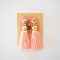 Lux tassel polymer clay earrings - pink & gold