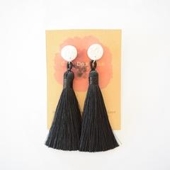 Black tassel polymer clay earrings