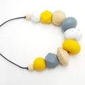 Mustard Yellow Necklace/ Geometric Necklace/ Silicone and Wood