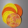 Set of 5 ORANGE & YELLOW reusable face wipes, makeup remover pads, scrubbies