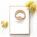 Australia Map Souvenir Card, Removable Bamboo Decoration, Australian Made Gift