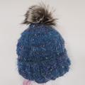 Adult beanie,  dusty blue textured  wool, faux fur pompom.
