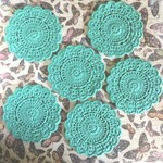 Turquoise Set of Six Hand Crocheted Coasters