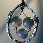 ARTSee BOHO style, silver, brass and Jade beads pendant.