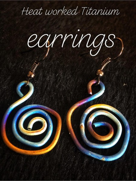 Heat worked Titanium Earrings