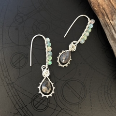 Pietersite and Ethiopian Opal sterling silver earring.