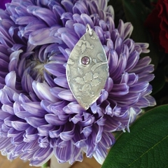 Recycled silver pendant with an amethyst