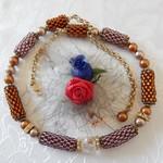 3 piece set Bead weaved Necklace - Bracelet -Earrings