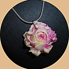 Carved Tridacna and sterling silver necklace.