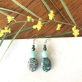 Green Patterned Dangle Earrings