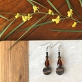 Tigers Eye & Crystal dangle earrings.