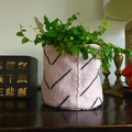 Pale pink African mud cloth pot plant bucket or storage