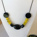 Modern design Alabaster & Agate hand beaded necklace.