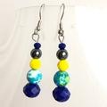 Crystal, Agate & Hematite handmade earrings.